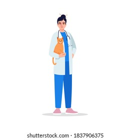 Veterinarian semi flat RGB color vector illustration. Female doctor. Medical staff. Veterinary physician. Young japanese veterinary surgeon isolated cartoon character on white background