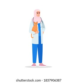 Veterinarian semi flat RGB color vector illustration. Veterinary surgeon. Female doctor. Veterinary physician. Young muslim woman working as vet isolated cartoon character on white background