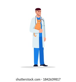 Veterinarian semi flat RGB color vector illustration. Male doctor. Animal hospital personnel. Veterinary physician. Young caucasian veterinary surgeon isolated cartoon character on white background