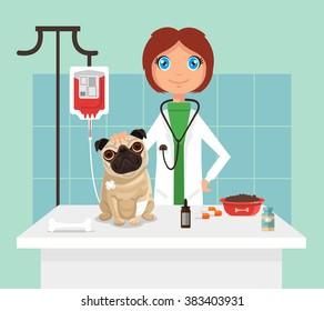 Veterinarian. Vetor flat illustration