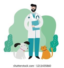 Veterinarians medical with cute animals vector illustration. Cartoon Veterinary and animals, modern illustration