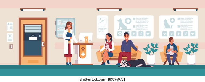 Veterinary. Cartoon people with sick pets in clinic office waiting for doctor, animal hospital visitors. Vet medicine and healthcare concept, vector scenery with cat and dog owners on reception
