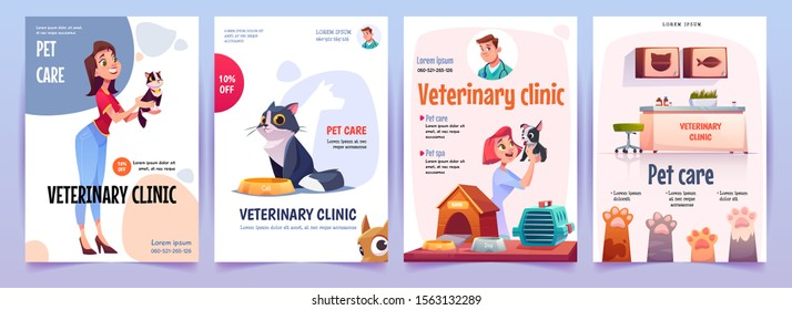 Veterinary clinic banners set. Vet service, cats and dogs care, spa procedures for pets in therapeutic office, animals health care, hospital advertising poster design. Cartoon vector illustration