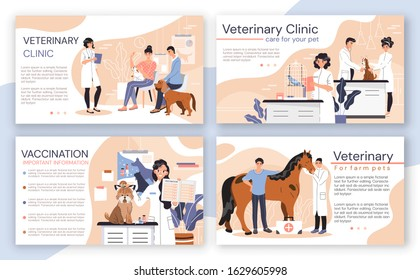 Veterinary clinic brochure, vet center booklet, vector illustration. Animal doctor in medical center, professional veterinarian website design. People and pets in animal clinic, cute cartoon character