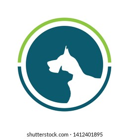 Veterinary clinic with cat and dog logo vector image