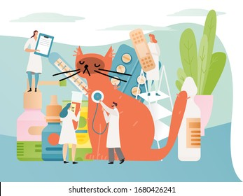 Veterinary clinic concept, doctor with stethoscope examines cat, tiny people team, vector illustration. Pet medical center, animal healthcare hospital. Cartoon characters in flat style, kitten checkup