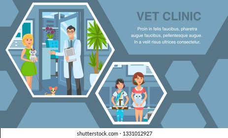 Veterinary Clinic Flat Web Banner Vector Template. Vet Office Interior. Cartoon Pet Owners Queue. Veterinarian Appointment. Pet Care Service Poster. Animal Hospital Illustrations with Text Space