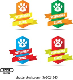 Veterinary clinic label and sign - Vector illustration