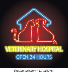 veterinary clinic logo for animal and veterinary hospital with neon light effect. vector illustration