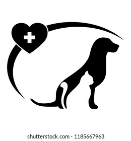 Veterinary Clinic logo with the image of a cat and dog with a heart and a medical cross