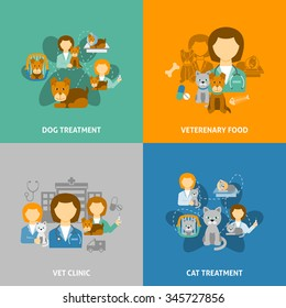 Veterinary clinic for pets with hospital and chemist shop 4 flat icons square composition isolated vector illustration