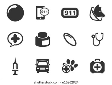 Veterinary clinic vector icons for user interface design