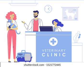 Veterinary concept with animal patient and doctor in reception vet clinic. Young woman with cat and veterinarian in hospital hall background.  Healthcare, medical treatment, prevention and immunize