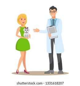 Veterinary Consultation Flat Vector Illustration. Woman with Yorkie Talk with Veterinarian. Dog Lover, Vet Doctor and Pet Cartoon Character. Animal Care service. Color Isolated Design Element