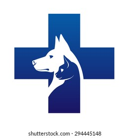 Veterinary cross with dog and cat inside.