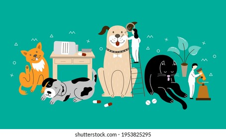 Veterinary dermatology banner with a cat, dogs, doctors. Vector flat illustration can be used for veterinary clinics.