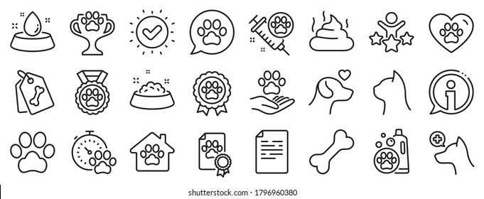 Veterinary, dog care and cat food. Pets line icons. Lovely animals, shampoo for pets and doghouse icons. Vaccine, pet care and dog paw. Winner cup, certificate and medal. Animal feces. Vector