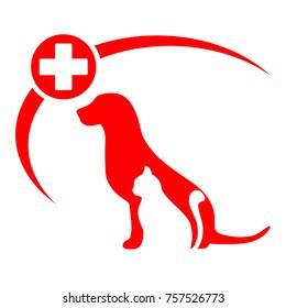 veterinary emblem of a cat and a dog