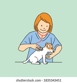 A veterinary female doctor examining a dog or a puppy with a stethoscope. Creative banner, flyer, landing page or a blog post for a vet clinic, veterinary office or hospital.