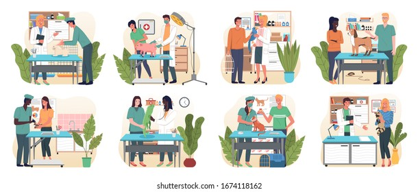 Veterinary flat set with pet carriage vet clinic and doctor isolated, vector. Medical personnel with animals. Veterinarians in medical gowns, doctor in uniform holding various pets. Medical vet care