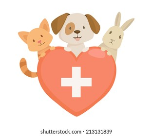 Veterinary heart  emblem with cat,dog and rabbit characters. vector illustration