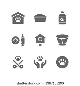 Veterinary icon set including animal, shelter, litter box, grooming, shampoo, vaccine, pet, collar, sterilization, adoption, vet, paw
