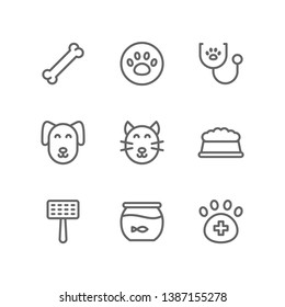Veterinary icon set including bone, paw, vet, stethoscope, dog, cat, pet, food, snack, grooming, fishbowl, animal, care
