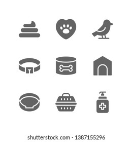 Veterinary icon set including poop, vet, clinic, bird, dog collar, food, dog house, pet, bed, carrier, cargo, antiseptic