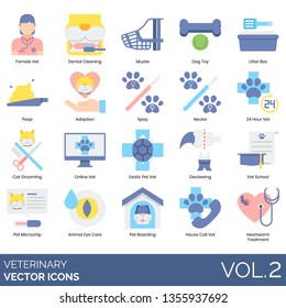 Veterinary icons including female vet, dental cleaning, muzzle, dog toy, litter box, poop, adoption, spay, neuter, 24 hours, cat grooming, online, exotic pet, declawing, school, microchip, eye care.