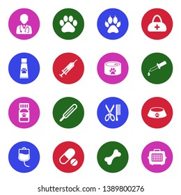 Veterinary Icons. Set 2. White Flat Design In Circle. Vector Illustration.