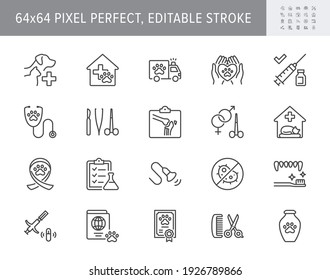 Veterinary line icons. Vector illustration include icon - stethoscope, grooming, , xray, ultrasound, vaccination, sterilization outline pictogram for vet clinic. 64x64 Pixel Perfect, Editable Stroke.