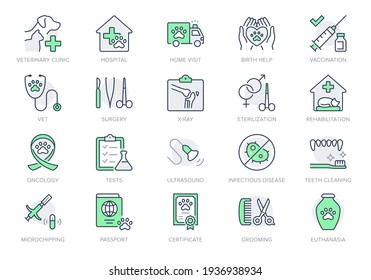 Veterinary line icons. Vector illustration include icon - stethoscope, grooming, , xray, ultrasound, vaccination, sterilization outline pictogram for vet clinic. Green Color, Editable Stroke.