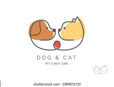 Veterinary logo, Cat and dog logo design, pets care, vetclinic logo, pet clinic.