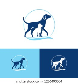 veterinary logo with pets silhouettes, a dog and cat combined in a vet symbol. vector
