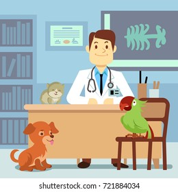 Veterinary office with doctor and pets. Doctor veterinary in clinic with animals. Vector illustration