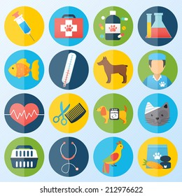 Veterinary pet health care animal medicine icons set isolated vector illustration