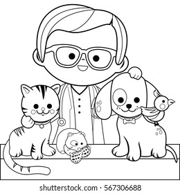 Veterinary physician and pets: a cat, dog, a hamster and a bird. Coloring book page