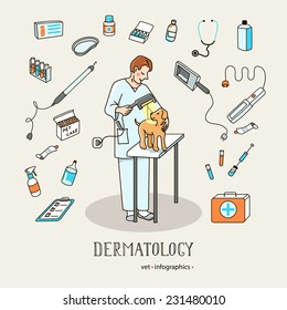 Veterinary services - dermatology. Set of icons and characters veterinary medicine.  Infographics elements, helthcare, vet. Vector illustration.