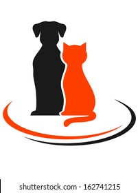 veterinary sign with black dog and red cat silhouettes