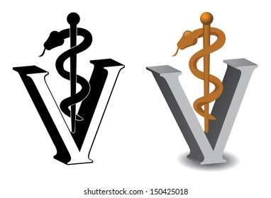 Veterinary Symbol Caduceus EPS 10 vector, grouped for easy editing. No open shapes or paths.