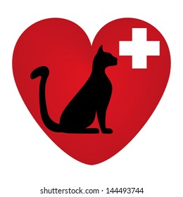 Veterinary symbol with a picture of a cat