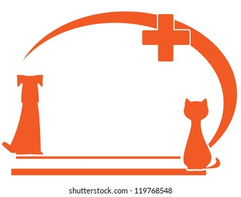 veterinary symbol with place for text and pet silhouette