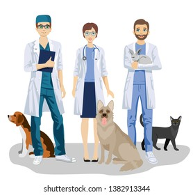 Veterinary. Veterinarian team with cute dogs, cat and rabbit care for vet clinic vector illustration. Veterinary and cartoon animals.