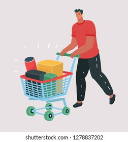 Vetor cartoon illustration of Buying items on sale. Smiling man carrying on shopping cart boxes with discount percents. Holiday purchases in supermarket. Human character on isolated background.