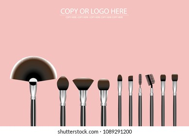 vetor cosmetic brush on pink background.dressing table