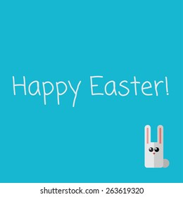 Vetor Happy Easter card with flat small rabbit. Eps10
