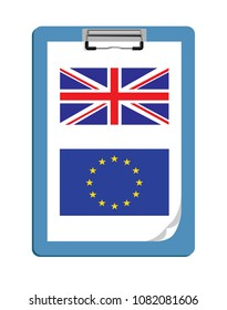 Vetor image of a clipboard with the UK and EU flag - Brexit