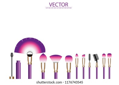 vetor violet and pink cosmetic brush on white background.dressing table