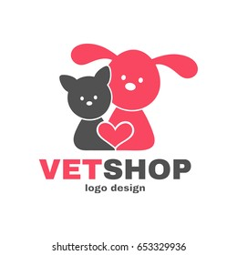Vetshop dog and cat logo design template. Vet shop,veterinarian,veterinary,animals, pets concept. Vector flat modern style illustration cartoon icon. Dog,cat,heart.Logo isolated on white background