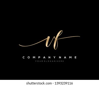 VF handwriting initial  logo vector